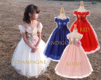 Toddler to Big Girl Sparkle Sequins Drop Shoulder Tulle Princess Gown, Wedding Flower Girl, Blush Pink, Gold Champagne, Red, Blue Indigo
