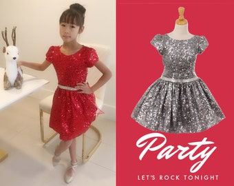 857bd2297 Little to Big Girl Sparkle Sequins Dress, Red Silver, Birthday Party  Special Occasion Pageant Holiday Christmas Dance, Size 2-12