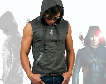 Men Sleeveless V Neck Hoodie Sweatshirt Cotton Poly Slim Fit Casual Sports Gym Workout Active-wear Grey