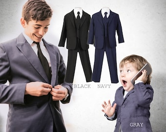 33bb0372d5ad Baby to Big Boy 5-Piece Regular Suit, Black, Navy, Platinum Gray, Baptism, Wedding  Ring Bearer, Confirmation, Prom, Size 6mo to Boy 20