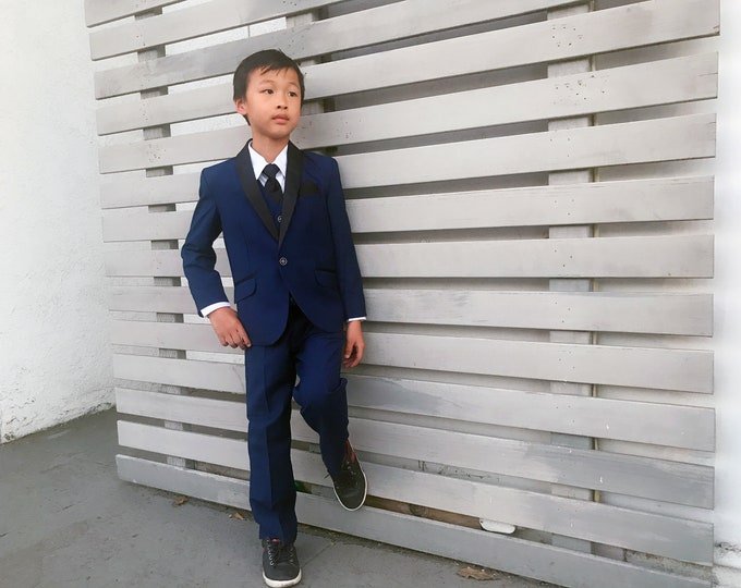 Featured listing image: Slim Fit Boys 7-Piece Indigo Marine Blue Suit Tuxedo Black Shawl Lapel, Jacket Vest Pants Shirt Tie Bow-Tie Hanky, Wedding, Ring Bearer