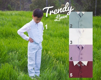 Toddlers and Boys Linen 4-Piece Vest Suit, Light Mint Blue, Purple Lavender, Burgundy Wine Maroon, White Ivory, Baptism Christening Wedding
