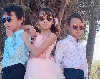 Kids Children Unisex Round and Pilot Aviator UV Protection Sunglasses, Retro Vintage Stainless Metal Frame, Reflective Mirror Lens