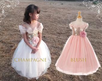 Toddler to Big Girl Sparkle Sequins Drop Shoulder Tulle Tea Length Princess Gown, Wedding Flower Girl Birthday, Blush Pink, Gold Champagne