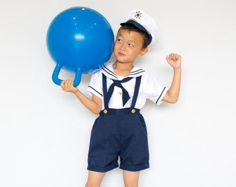 Toddlers to Boys Nautical Marine Sailor Shorts Suit Costume with Hat, Birthday Halloween