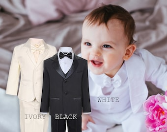 890df4d77c7d01 Baby to Big Boy 5-Piece Suit Tuxedo Satin Lapel