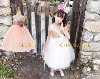 Little to Big Girl Sparkle Bustier Tea Length Dress, Wedding Flower Girl, Blush Pink, Champagne, Red, Indigo Blue, White/black, Size 2-12