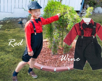 Toddlers to Boys Retro Newsboy 5-piece Linen Suit, knickers bowtie shirt hat suspender, black red burgundy wine maroon, wedding ring bearer