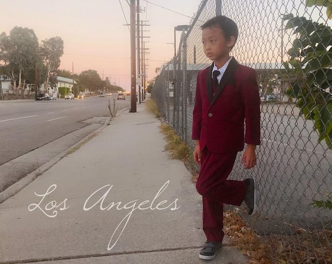 Featured listing image: Slim Fit Boys 7-Piece Burgundy Wine Maroon Suit Tuxedo Black Shawl Lapel, Jacket Vest Pants Shirt Tie Bow-Tie Hanky, Wedding, Ring Bearer