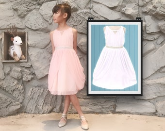 Little to Big Girl Rhinestone Pearl Chiffon Draped Dress, Blush Pink, White, Baptism, Christening, Wedding Flower Girl, Easter, Size 2-14