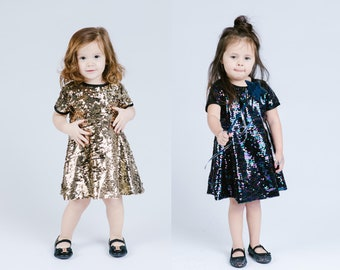 Girl Luxury Ultra Sparkle Sequined Zip-Up Dress, Gold, Black Peacock, Party, Birthday, Pageant, Dance, Disco, Christmas