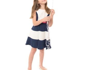 Girl 2 Tones Nautical Dress, Navy and White, Size 6