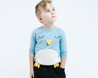 Boy Cute Penguin Crew Neck Sweater with 3D Beak and Feet, Party School Casual Animal