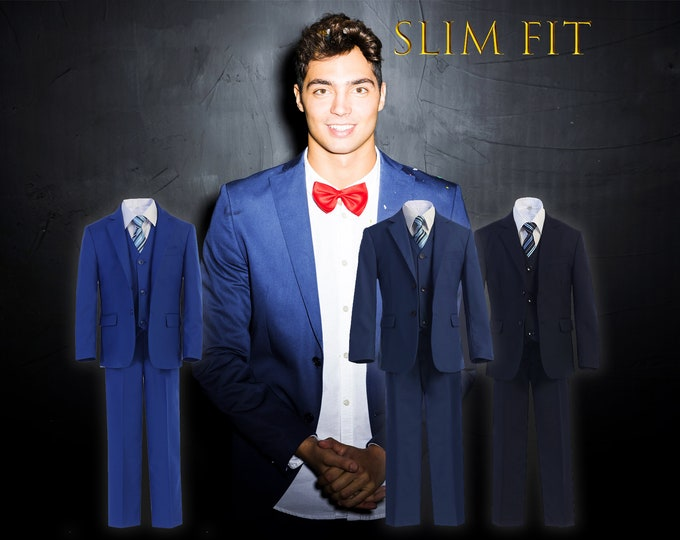 Featured listing image: Little to Big Boy Slim Fit Premium 7-Piece American Suit Tuxedo, Navy, Indigo Marine Blue, Royal Blue, Wedding Ring Bearer, Prom, Size 1-18