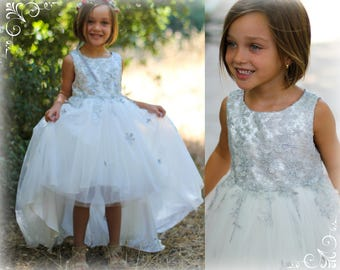 Girl Silver White Premium Flower Lace Tulle Hi-Low Dress Gown, Wedding Flower Girl, Pageant, Birthday Party, communion