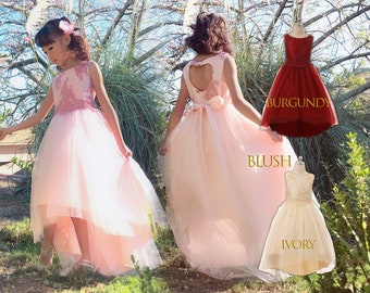 Girl Floral Lace Sequin Hi-Low Tulle Dress Gown, Pageant Wedding Flower Girl Birthday Party, Blush Pink, Burgundy Wine, Ivory