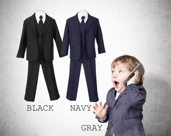 Baby to Little Boy 5-Piece Suit Tuxedo, Black, Navy, Platinum Gray, Baptism, Wedding Ring Bearer, Size 6 months to 7