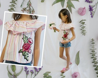 Whimsical Girls Retro Pink Stripes Off Shoulder Summer Peasant Top Blouse, Red Flower Floral Embroidery Patch