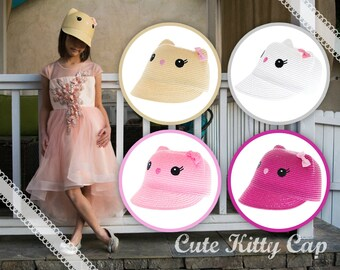 Cute Kitty Cat Straw Cap Cloche Hat Beige Brown, White, Pink, Hot Pink Fuchsia