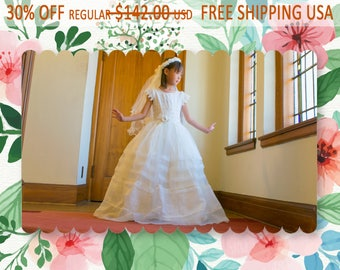 Victoria Organza Lace Sequin Full Length 2-piece Bolero and Dress Gown 6-16, Ivory or White, Mesh Veil, Pageant, Confirmation, Communion