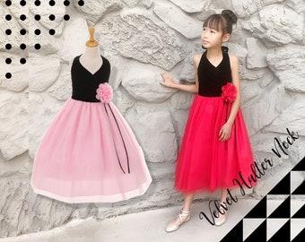Little to Big Girl Velvet Halter Neck, Layered Tulle Tea Length Dress, Red, Pink, Black, Wedding Flower Girl, Birthday Party, Size 2-12