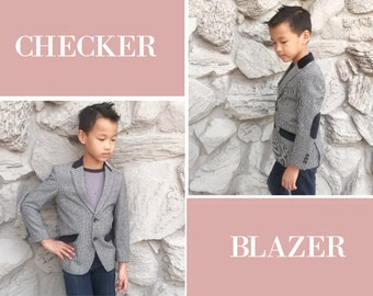 Slim Fit Boys Premium Checker Blazer Coat Black White, Suit Tuxedo, Wedding, Ring Bearer, Birthday, Homecoming, Prom, Party