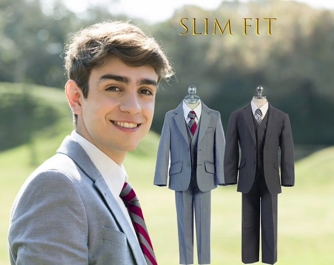 Featured listing image: Little to Big Boy Slim Fit Premium 5-Piece Suit Tuxedo, Dark Gray Charcoal, Light Gray, Wedding Ring Bearer, Homecoming, Prom, Size 1-20