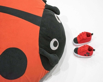 Baby Girls Ladybug Beetle Canvas Sneakers Booties Soft Sole Shoes Red