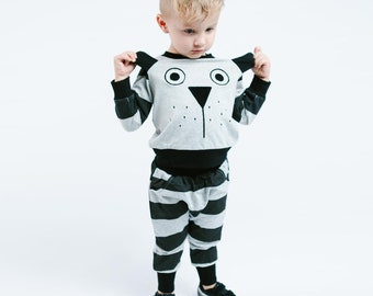 Boy Cute Dog with Ear Flaps Crew Neck Sweater and Striped Jogger Set, Party, Back to School, Casual, Play, Animal