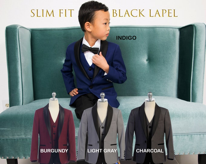 Featured listing image: Slim Fit Premium Boys 7-Piece Suit Tuxedo Black Satin Shawl Lapel, Indigo Blue, Burgundy Maroon, Light Grey, Charcoal, Wedding, Ring Bearer
