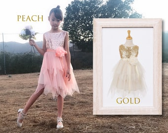 Toddler to Big Girl Sparkle Sequins Sleeveless Tiered layered Mesh Pixie Fairy Fantasy Dress, Wedding Flower Girl Birthday Party, Peach Gold