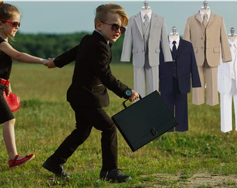 Slim Fit Suit for Husky Boys, 5 Piece - Jacket Vest Shirt Tie Pants, Black Grey Navy Beige White, Baptism Church Wedding Page Boy