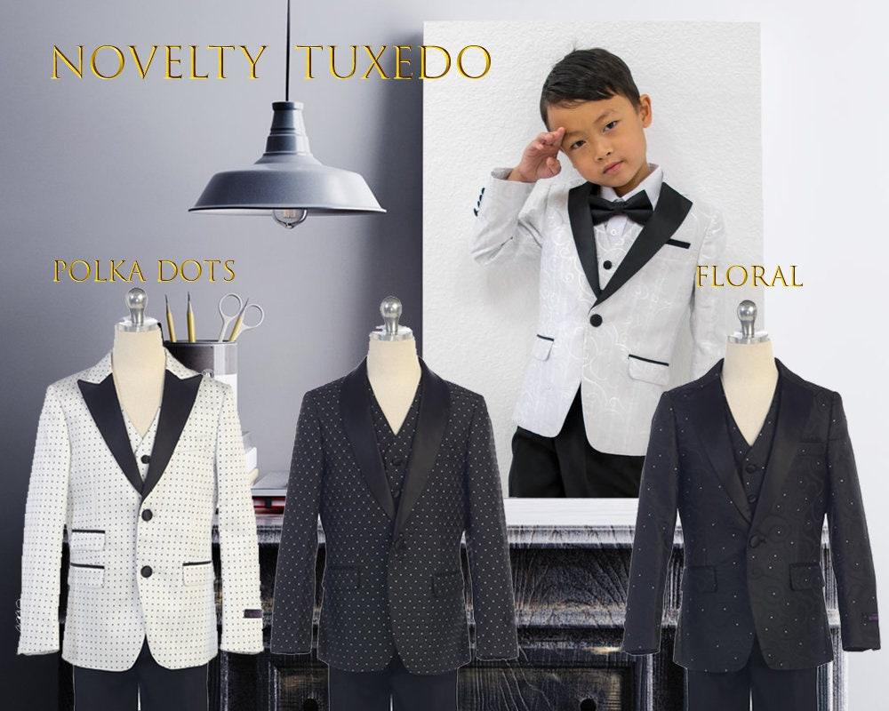 8dfeca66 Slim Fit Fancy Novelty Boys 3-Piece Tuxedo Suit, Black White, Polka ...