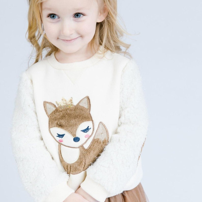 52733b9124 Girl Cute Cream Crew Neck Sweater with Faux Fur Crowned Fox