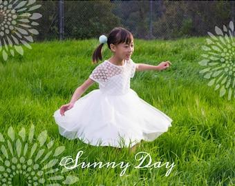 Girl Lace Top White Tulle Knee Length Dress, Pageant, Wedding Flower Girl, Baptism, Christening, Communion