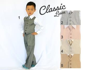 Toddlers and Boys Linen Vest 4-Piece Set Gray, Blush Pink, Beige Cream, Khaki Brown, Baptism Christening Wedding Ring Bearer