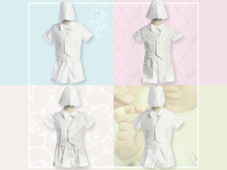 Baby Boy Paisley White Suit//Tuxedo Baptism//Wedding 5 piece Outfit Sizes XS to 7