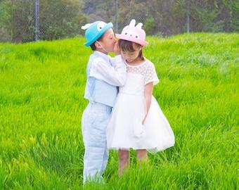 Straw Bowler Hat, Bunny Rabbit, Kid Unisex Boy Girl, Blue Pink
