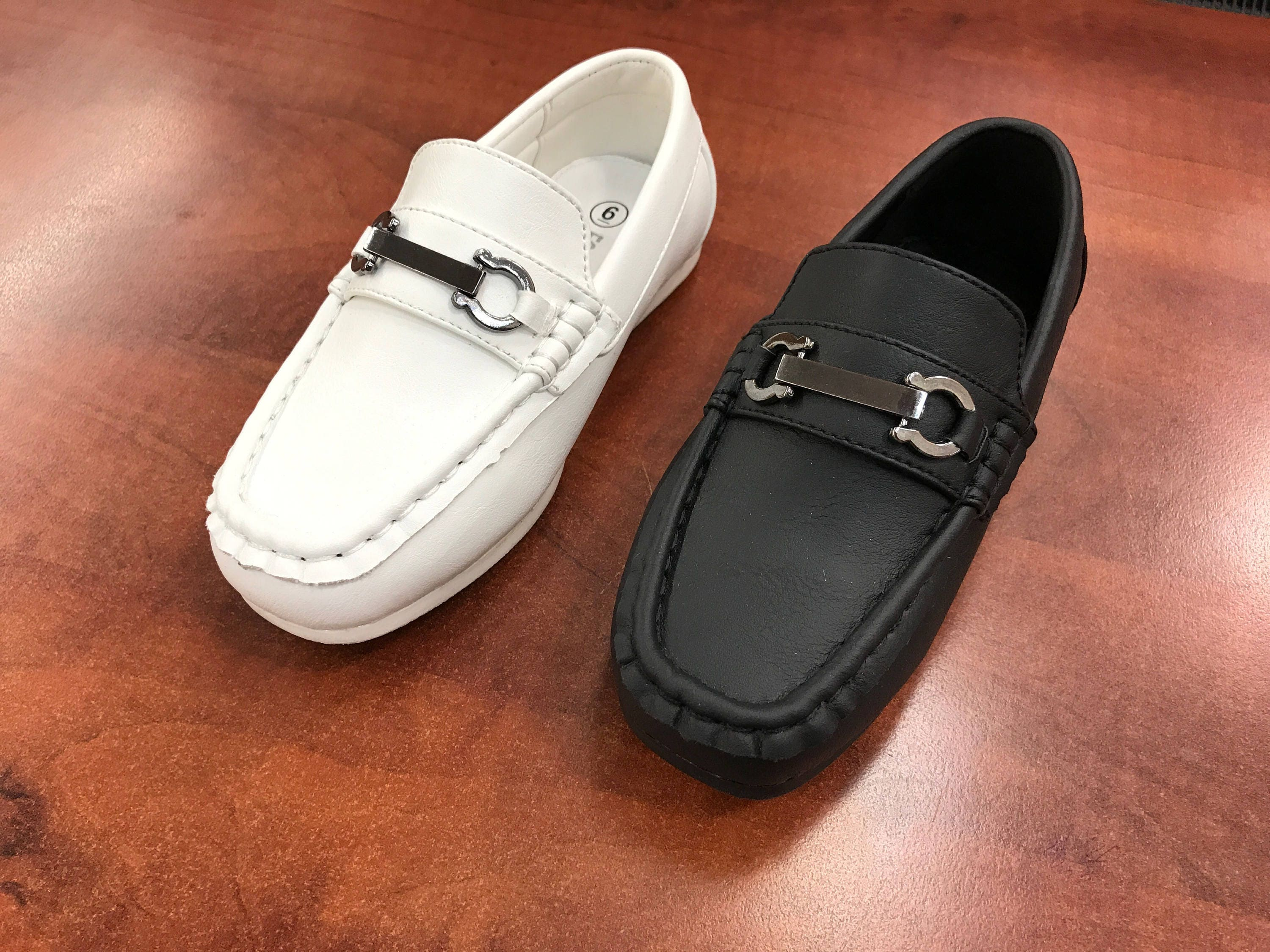 745d22c4fca0 Toddler to Youth Boys Classic Black White Vegan Faux Leather Loafer ...