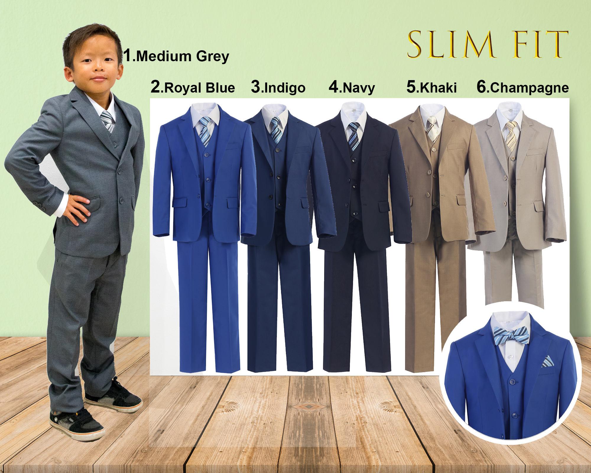 b5f6689b4150b Slim Fit Premium Boys 7-Piece Suit Tuxedo, Gray Navy Indigo Royal ...