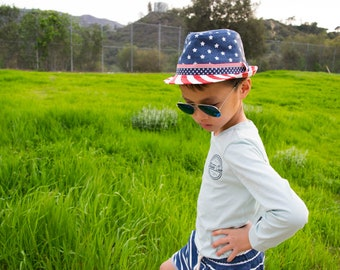 America USA Flag Trilby Fedora Hat, Kid Unisex Boy Girl, Patriotic July 4th, Independence Day