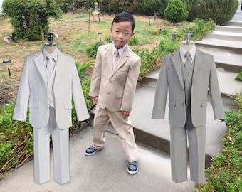 Toddler to Teen Boy 5-Piece Suit Tuxedo, Khaki Beige, Light Gray, White, Wedding Ring Bearer, Christening, Baptism, 15% Sales