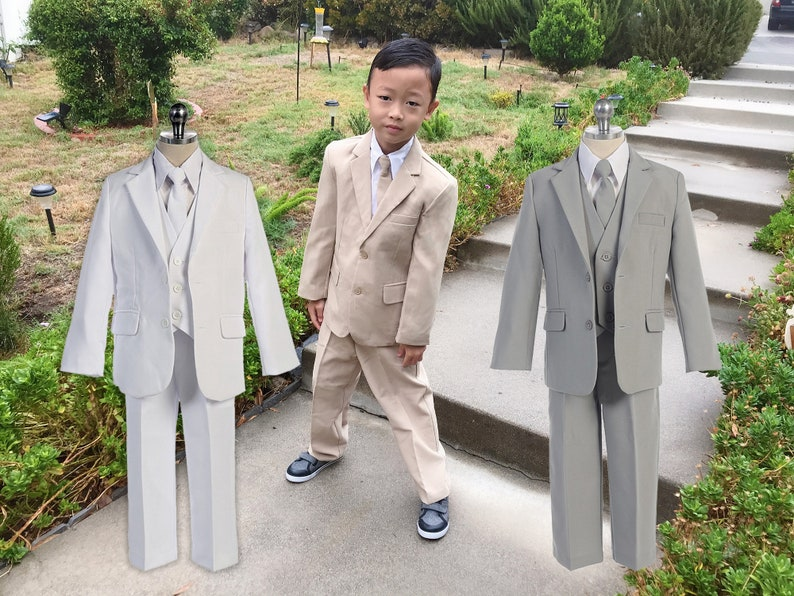 afd8bdf10 Little to Big Boy 5-Piece Suit Tuxedo Khaki Beige Light