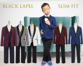 Slim Fit Premium Boys 3-Piece Suit Tuxedo Black Satin Shawl Notch Lapel, Indigo Blue, Burgundy Maroon, Grey, White, Wedding, Ring Bearer