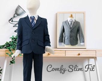 Slim Fit Comfort Boys 5-Piece Suit Tuxedo, Gray Navy Indigo, Wedding Ring Bearer Homecoming Prom