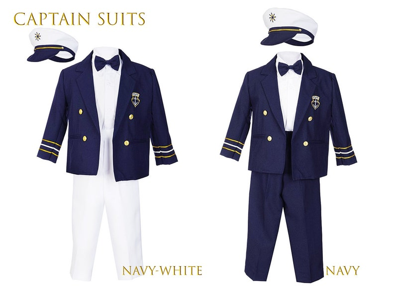 e2551aa8c Boys Nautical Marine Captain 5 pieces Suit with Navy Jacket, Pants, White  Shirt, Cap, Bow Tie, Birthday Party, Wedding, Size 6m - 7