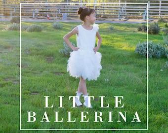Girl Ballerina White Tulle Lace Knee Length Dress, Pageant, Wedding Flower Girl, Baptism, Christening, Communion