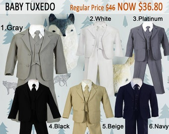 Baby Toddler 5-Piece Suit, Jacket Vest Shirt Tie Pants, Gray Black White Navy Beige, Baptism Christening Wedding Birthday