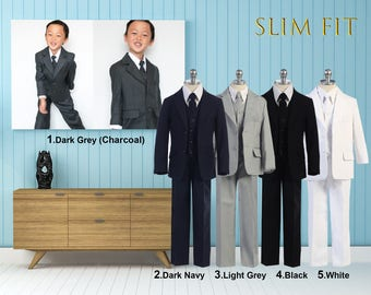 Slim Fit Premium Boys 5-Piece Suit Tuxedo, Dark Gray Charcoal, Light Gray, Dark Navy, Black, Wedding, Ring Bearer, Communion