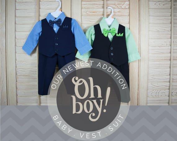 Les tout-petits bébés gilet 4 pièces costume, gilet chemise pantalon noeud papillon, bleu marine, noir vert